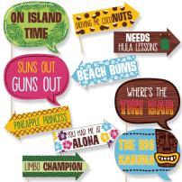 Funny Luau - Hawaiian Party Photo Booth Props Kit - 10 Piece