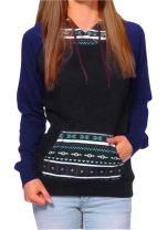 Women's Lightweight Raglan Geometric Print Pocket Pullover Hoodie Sweatshirt Top