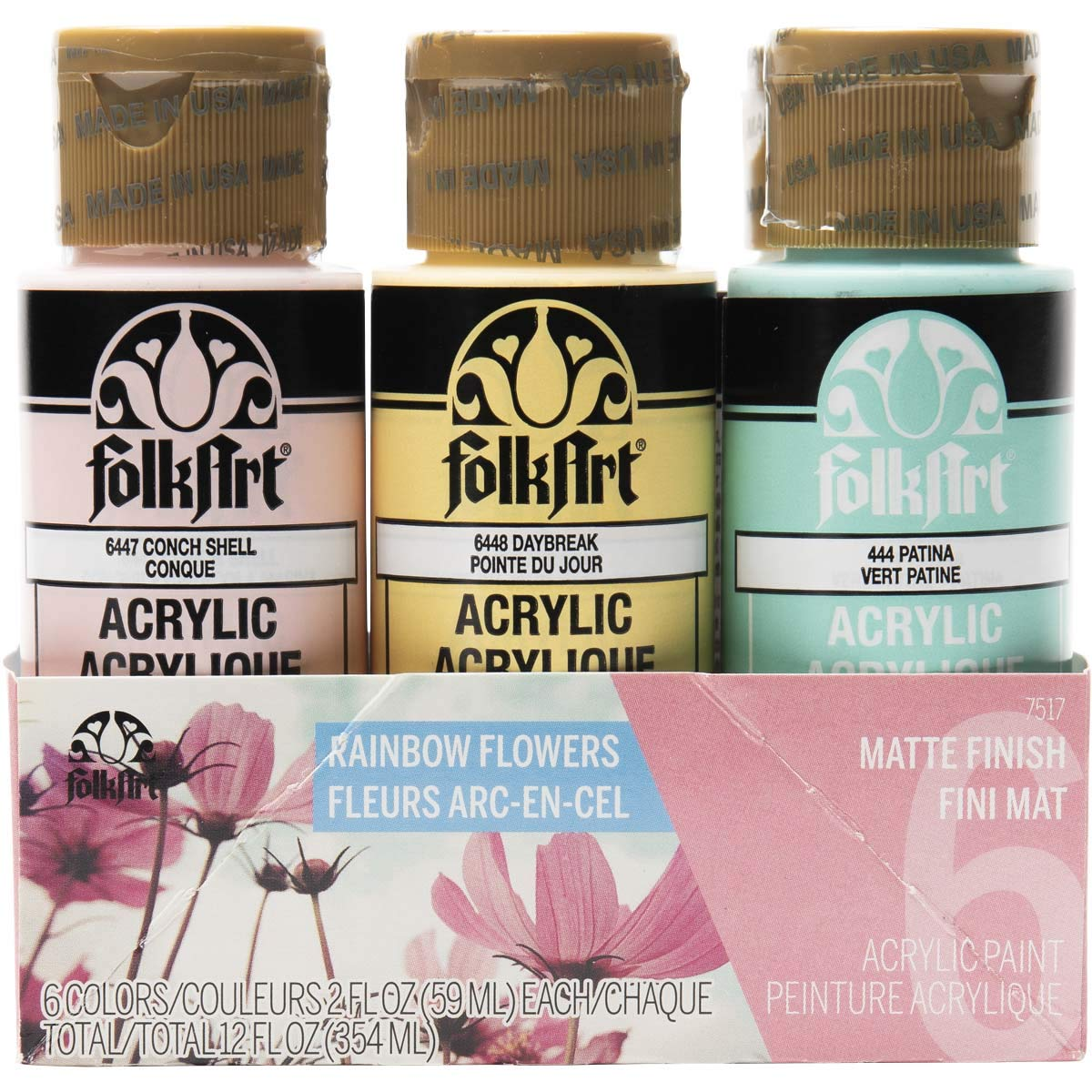 FolkArt 6 Color, Matte Acrylic Paint Set, 2oz, Rainbow Flowers
