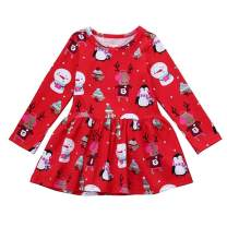 Oklady Toddler Baby Girls Dress Long Flare Sleeve Ruffled Round Collar Skirt