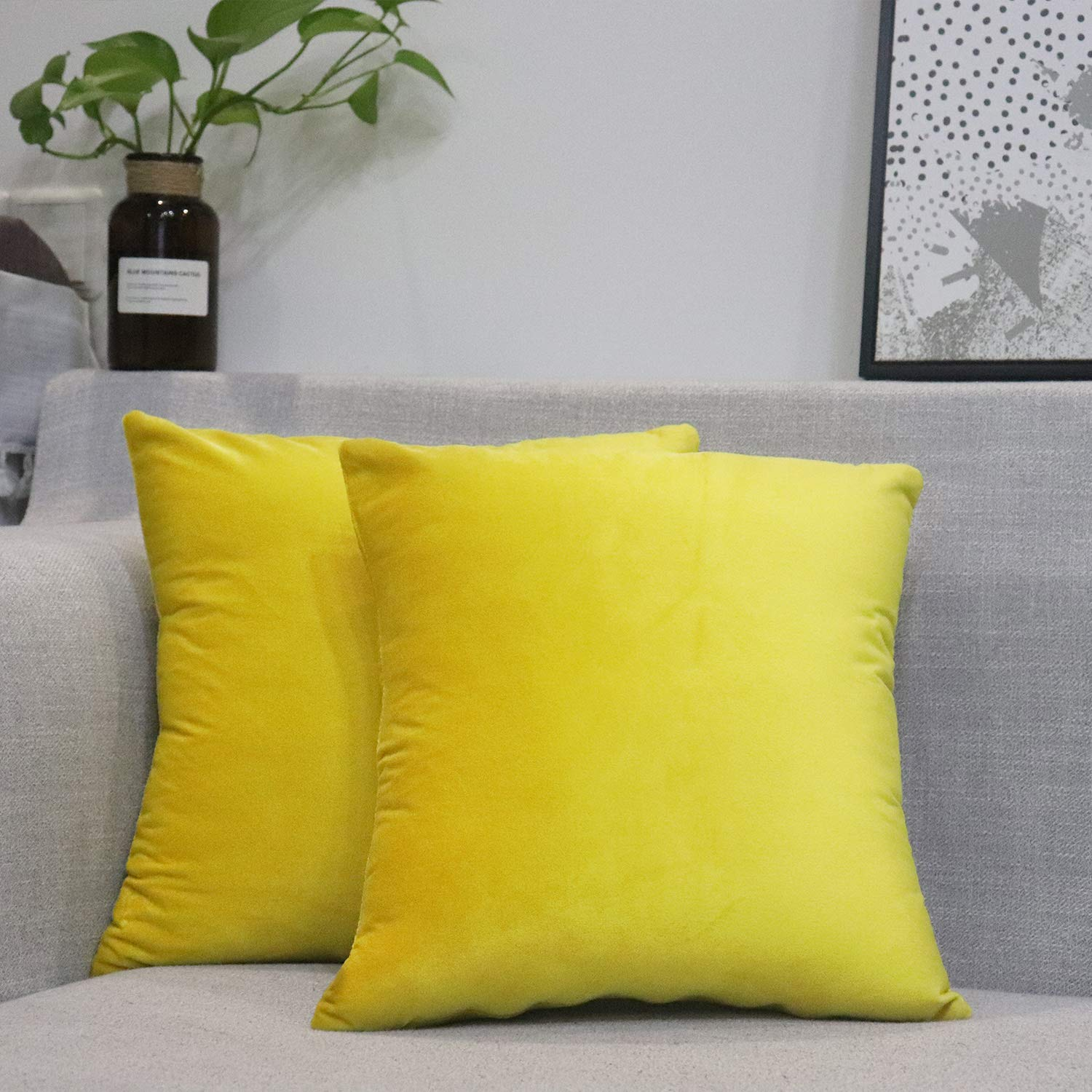 WEYON Throw-Pillow Covers Velvet Soft Decorative Square Cushion Cases Pillowcases for Home Decor Sofa Bedroom Car, Set of 2, 16 x 16 Inches Sunflower Yellow