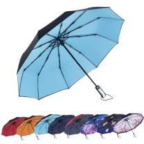 AmaGo Automatic Folding Umbrella - 10 Ribs Windproof,210T Water Repellent, Auto Open & Close with Ergonomic Handle Traveling Umbrella