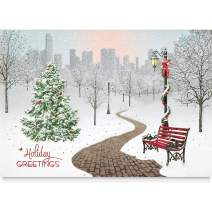 Business Christmas Cards (25 Personalized Greeting Cards) - with Foil and Embossing (Snowy Park)