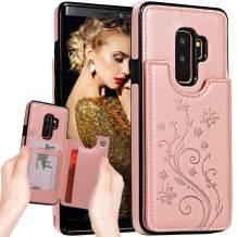 Galaxy S9 Case Wallet,S9 Case with Card Holder,Auker Premium Butterfly Embossed Leather Flip Magnet Back Wallet Case with Money Pocket Folding Stand Protective Purse Case for Women Samsung S9 (RoGold)