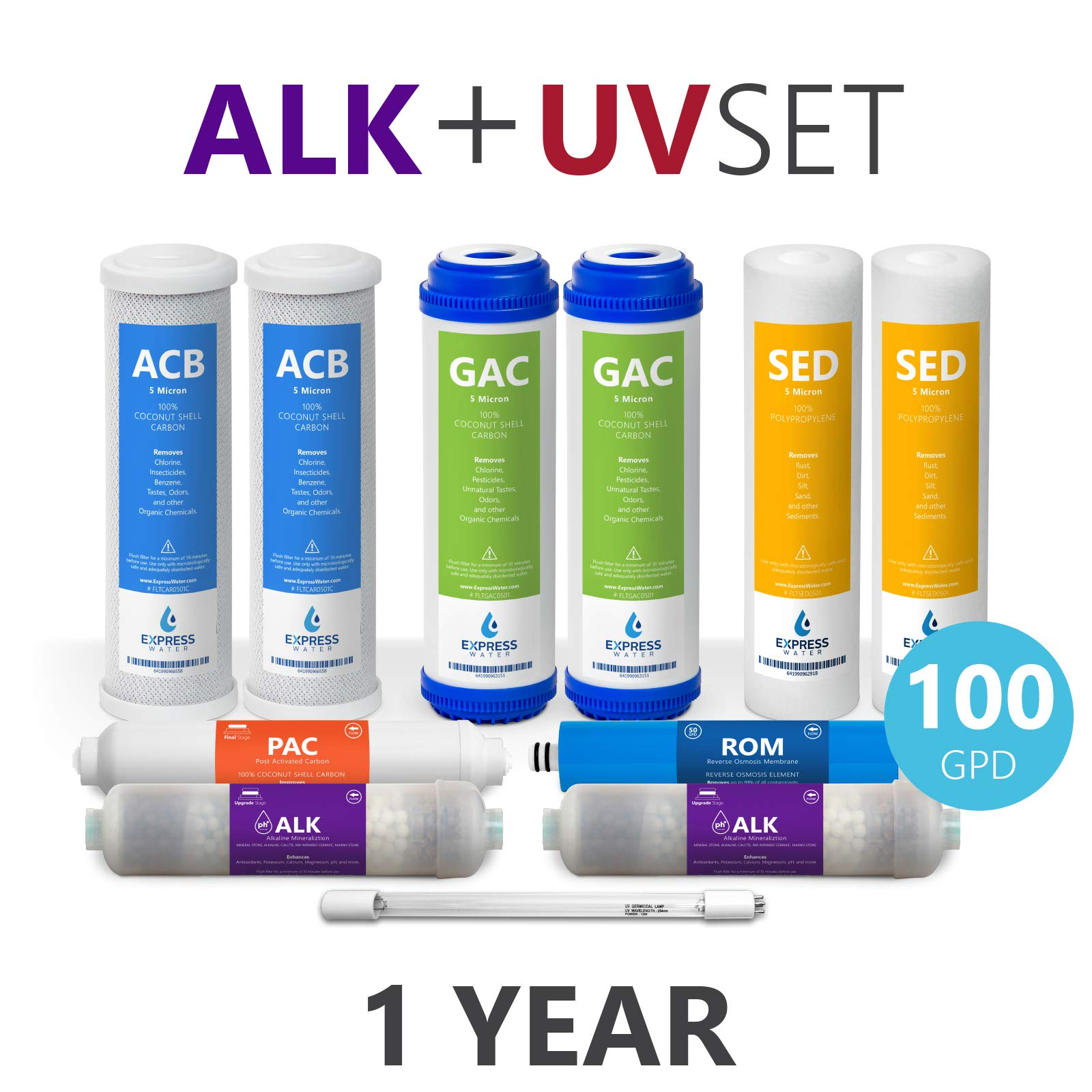 Express Water – 1 Year Alkaline Ultraviolet Reverse Osmosis System Replacement Filter Set – 11 Filters with UV and 100 GPD RO Membrane – 10 inch Size Water Filters