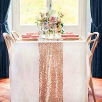 TRLYC 12 by 108-Inch Rose Gold Sequin Table Runner for Wedding