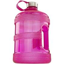 1 Gallon BPA Free Plastic Water Bottle for Cold Liquids With Attached Leak Proof Screw Lid - For Gym Office Daily Use, Pink