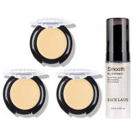 3 Pack Full Coverage Concealer Cream Makeup & 1PC Pore Minimizer Face Foundation Primer, Waterproof Matte Smooth Concealer Corrector for Dark Spot Under Eye Circles, 18g/0.6Oz (#20 Highlight)
