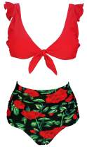 COCOSHIP Women's Retro Floral High Waisted Shirred Bikini Set Tie Front Closure Top Ruffle Swimsuit(FBA)