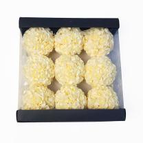 WMAOT 9pcs 3.5'' Artificial Rose Satin Flower Foam Balls for Bridal Wedding Centerpiece Party Ceremony Decoration (Ivory)