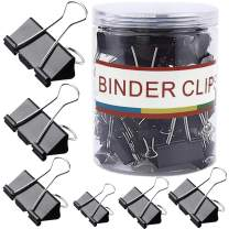JZMYXA Binder Clips Paper Clips, 128 Pcs, Assorted Sizes, 6 Sizes Binder Clips