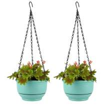 T4U Plastic Hanging Planter Self Watering Basket with Detachable Base 9 Inch Mint Green Set of 2 - Round Hanging Flower Plant Pot Deep Reservoir Container Box for House Plants Home Garden Decoration