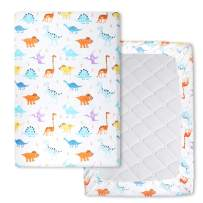Waterproof Pack n Play Playard Sheets Mattress Sheet Stretchy Fitted Mini Crib Sheets Cover Pad, Soft Dinosaur 40' x 27.6'