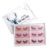 SWINGINGHAIR 3D Mink Eyelashes Pack, Lashes 6 Pairs 3 Styles Natural Look Wispy False Eyelashes Natural Soft Curl Fake lashes for Daily Makeup Reusable Hand Made Strips 16mm