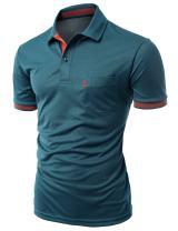 Xpril Men's Cool Max Fabric Sporty Design 2 Tone Collar T-Shirt
