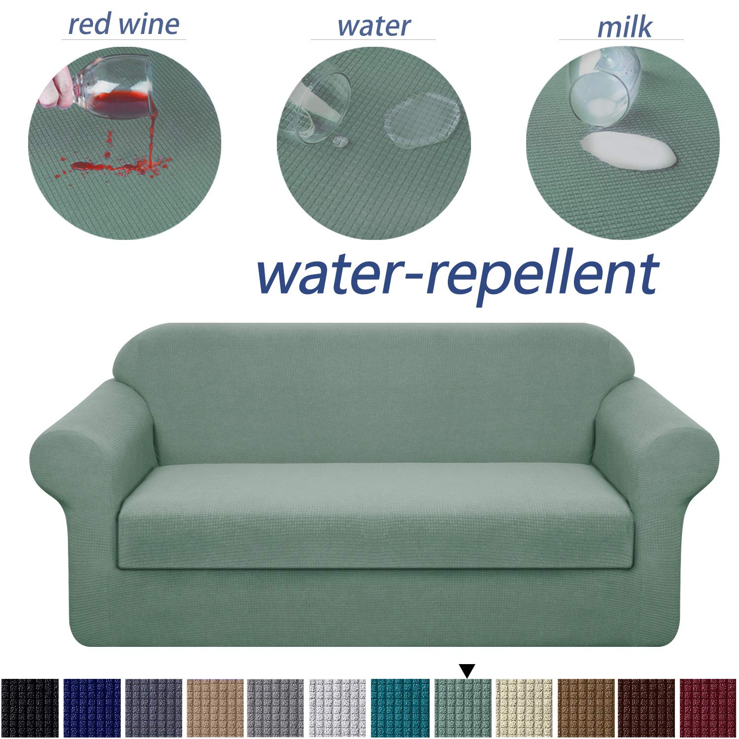 Granbest Stretch Sofa Slipcovers 3 Cushion Couch Covers Water-Repellent Pet Furniture Covers Dog Couch Protectors (Matcha Green, XLarge-2 Pieces)