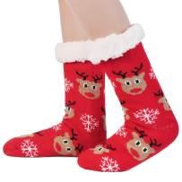 Goodsaleok Women Winter Socks Christmas Fuzzy Slipper Socks Christmas Socks