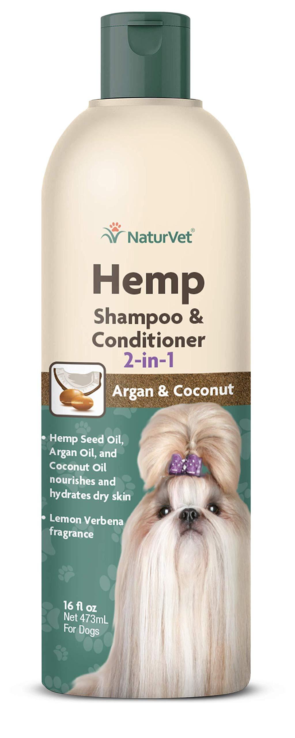 NaturVet – Hemp Shampoo & Conditioner 2-in-1 - Plus Argan & Coconut Oil – 16 oz – Gently Cleanses, Deodorizes & Conditions – Enhanced with Hemp Seed Oil, Argan Oil, Coconut Oil, & Aloe Vera