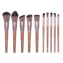 FIXBODY Makeup Brush Sets - 10 PCS Wood Handle Soft Synthetic fiber hair Kabuki Powder Blush Liquid Eyeliner Eyeshadow Lip Eyebrow Brush (Rose Gold)