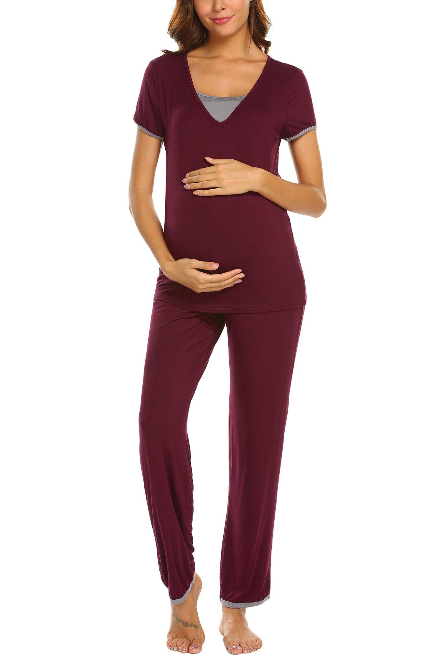 Ekouaer 3/4 Sleeve Maternity Pajama Sets for Hospital Double Layer Woman Nursing Sleepwear Set for Breastfeeding