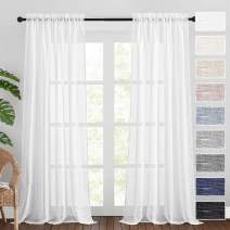 RYB HOME White Sheer Curtains 108 inches Long Natural Linen Blend Curtains Soft Light Glare Reduce Airy Breezy Privacy Sheer for Bedroom Living Room Large Window, 52 x 108 inches Long, 2 Pcs
