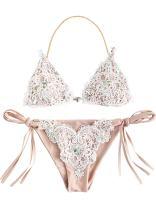 SOLY HUX Women's Sexy Halter Top Swimsuit Tie Side Triangle Bikini Set
