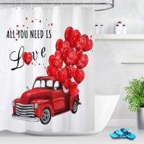 LB Red Truck Valentine Shower Curtain Set with Romantic Hearts Balloons Love Bathroom Sets for Lovers 78x72 Inch Polyester Fabric Simple White Shower Curtains with 12 Hooks