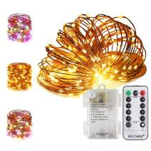 ER CHEN 66Ft 200 LED String Lights, Battery Operated Copper Wire Color Changing Christmas Fairy Lights with 8 Modes Remote Control Timer for Bedroom, Patio, Wedding and Party (Warm White & Multicolor)