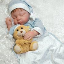 Paradise Galleries Lifelike Boy Baby Doll Lil Man in The Moon, Sleeping Reborn in GentleTouch Vinyl, 21 inch, 5-Piece Set