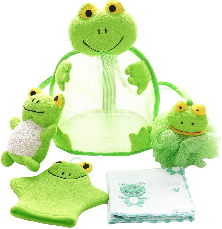 Shower Sponge Animal Bath Loofahs Pouf Wash Ball Puff Bulk Mesh Brush Luffa Body Scrubber for Kids,Toddler,Boys,Girls, Baby Shower Essential Skin Care, Soft Bathing Accessories Pack of 5(Frog)