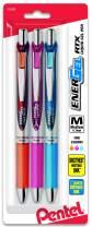 Pentel EnerGel Deluxe RTX Retractable Liquid Gel Pen, Medium Line, Metal Tip, Assorted Ink, 3 Pack (BL77BP3M2)