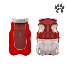 Easiestsuck Warm Dog Jacket, Dog Apparel with Plus Fleece Neckline,Windproof Water Repellent Cozy Cold Weather Dog Coat Lining Winter Dog Thick Vest for Outdoor Small Medium Large Dogs
