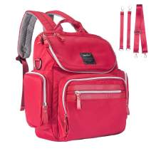 Landuo Diaper Bag Backpack Waterproof Travel Mummy Nappy Bags, Large Capacity and Multi-Function Back Pack Organizer with Baby Insulated Pockets (Red)