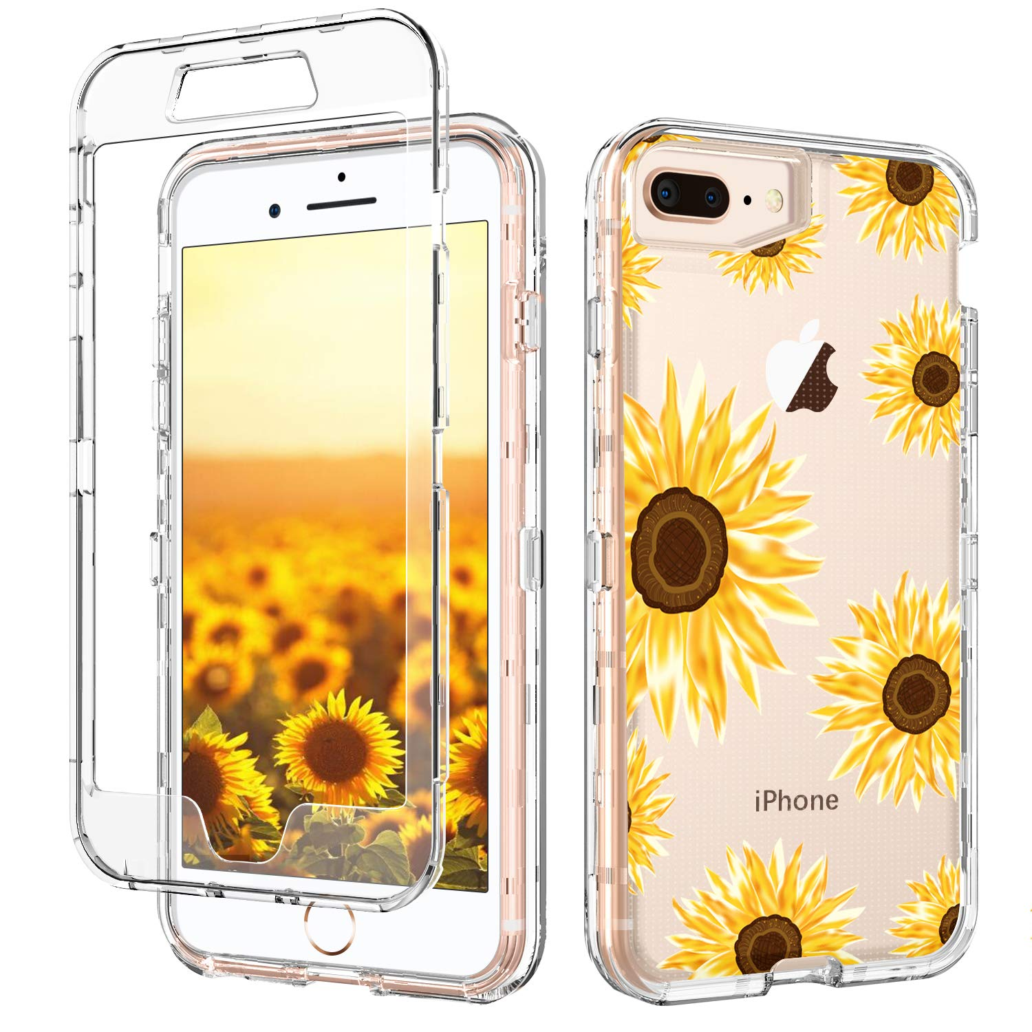 iPhone 8 Plus Case iPhone 7 Plus Case Clear Sunflower GUAGUA Floral Flowers Cover Three Layer Hybrid Hard PC Soft Rubber Shockproof Protective Phone Case for iPhone 7 Plus/8 Plus Transparent Yellow