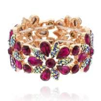 SP Sophia Collection Women's Floral Austrian Crystal Bangle Stretch Rhinestone Bracelet
