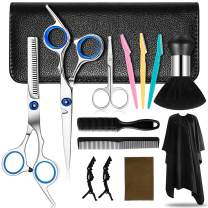 Hair Cutting Scissors Kit 14pcs Hair Scissors Professional Set Haircut Hairdressing Thinning Shears with Barber Cape Neck Brush Eyebrow Razor Nose Hair Scissors Clips Razor Comb for Women Men Kids