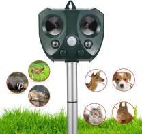 Ultrasonic Animal Repellent Outdoor,Solar Powered Waterproof Animal Repeller with Motion Sensor, Effectively Scares Repels Deer Raccoon Cat Dog Rabbit Squirrel Bird