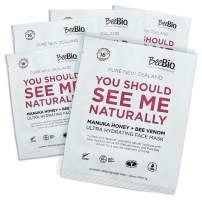 BeeBio Natural Manuka Honey & Bee Venom Sheet Masks | Lift, Plump, Tighten and Regenerate Skin with Hydrating 5 Day Treatment | 5 Masks