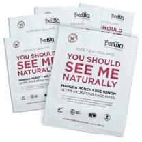 BeeBio Natural Manuka Honey & Bee Venom Sheet Masks   Lift, Plump, Tighten and Regenerate Skin with Hydrating 5 Day Treatment   5 Masks