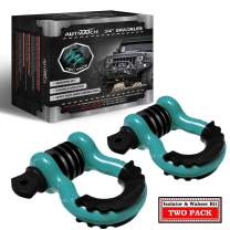 """AUTMATCH Shackles 3/4"""" D Ring Shackle (2 Pack) 41,887Ibs Break Strength with 7/8"""" Screw Pin and Shackle Isolator & Washers Kit for Tow Strap Winch Off Road Vehicle Recovery Teal & Black"""