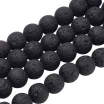 PH PandaHall 470pcs 8mm Natural Lava Beads Black Chakra Bead Strand Round Gemstone Loose Beads Energy Healing Beads for Jewelry Making