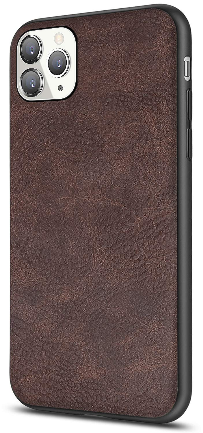 Salawat for iPhone 11 Pro Case, Slim PU Leather Vintage Shockproof Phone Case Cover Lightweight Premium Soft TPU Bumper Hard PC Hybrid Protective Case for iPhone 11 Pro 5.8 Inch 2019 (Dark Brown)