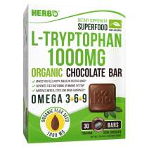 L-Tryptophan 1000 mg in Organic Dark Chocolate by Herbo Superfood - Natural Serotonin Booster For Immune And Mood Support, Restful Sleep, Weight Loss, Anxiety and Depression - Non-GMO, Gluten Free
