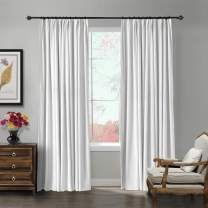 ChadMade Pinch Pleat 72W x 96L Blackout Lined Velvet Curtain Drapery Panel for Traverse Rod or Track, Living Room Bedroom Meetingroom Club Theater Patio Door (1 Panel), White