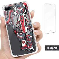 "iProductsUS Compatible with iPhone 8 Plus, 7 Plus Clear Case and Screen Protector, Print Unique Elephant Design Crystal Slim Cover, Hard PC Back + Soft TPU Bumper Protective Shockproof Cases (5.5"")"