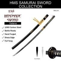 HMS Kill Bill Bride's Samurai Katana Sword, Hand Forged Heat Tempered, 1060 Carbon Steel, Sharp, Functional