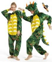 CASABACO Triceratop Dinosaur Dragon Onesie Adult Halloween Women Pajama Costume Men Christmas…