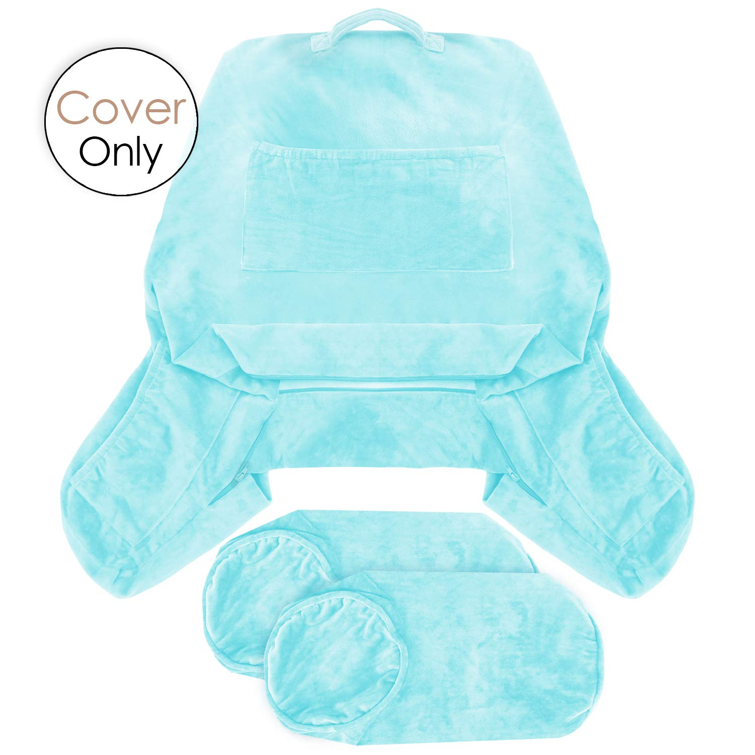 Nestl Reading Pillow Covers, Extra Large Bed Rest Pillow with Arms Cover - Detachable Neck Roll & Lumbar Support Pillow Cover - Removable Covers Ligth Baby Blue