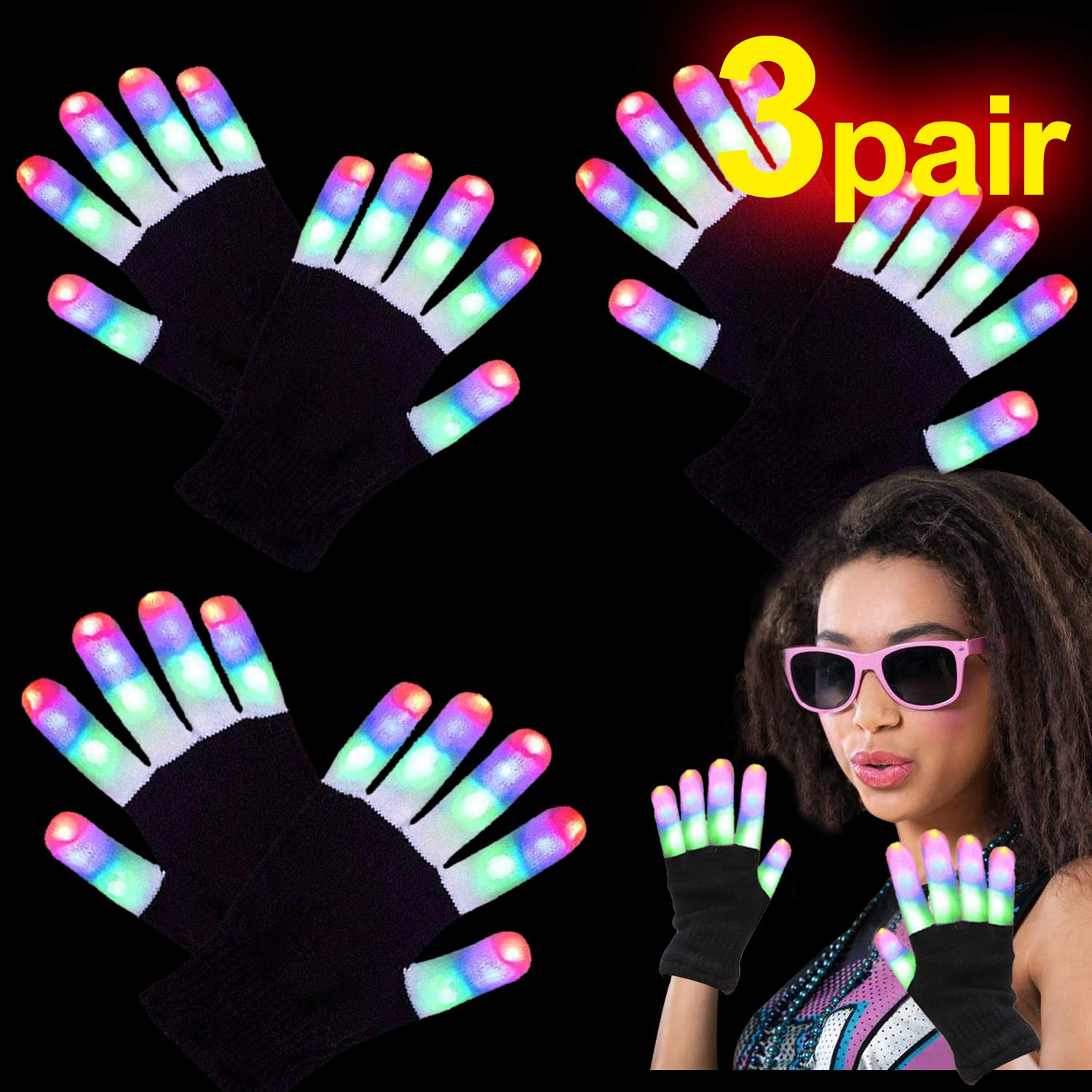 LED Gloves for Kids Teens Men Wemen, 3 Pairs Neon Light Up Rave Glow Gloves 3 Colors 6 Modes Flashing Glow in the Dark Party Supplies Christmas Costume Clubbing Party Favors Novelty Toys, Medium