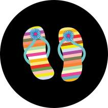 TIRE COVER CENTRAL Flip Flops Multi Color Stripe Daisy Spare Tire Cover (Select tire Size/Back up Camera Option in MENU) Custom Sized to Any Make/Model